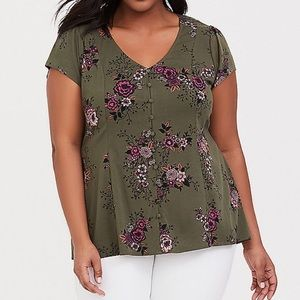 Olive Green Floral Challis Button Blouse